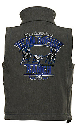 Cowboy Hardware Toddler Boy's Grey with Blue Team Roping Ranch Bonded Vest