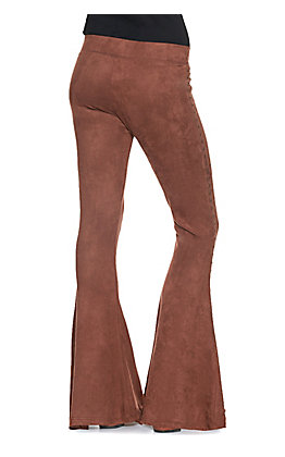 Rock & Roll Cowgirl Women's Brown Microsuede with Bronze Studs Bell Bottom Pants