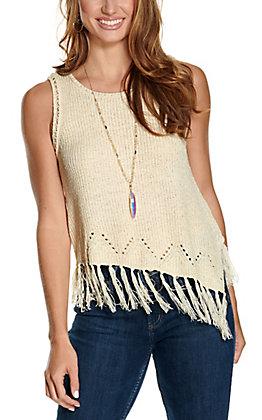 Hem & Thread Women's Ivory with Fringe Knit Sleeveless Tank Top
