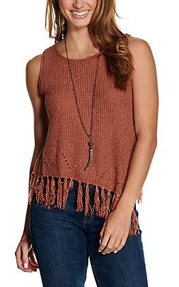 Hem & Thread Women's Rust with Fringe Knit Sleeveless Tank Top
