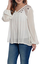 Hem and Thread Women's White with Embroidery Long Sleeve Fashion Top