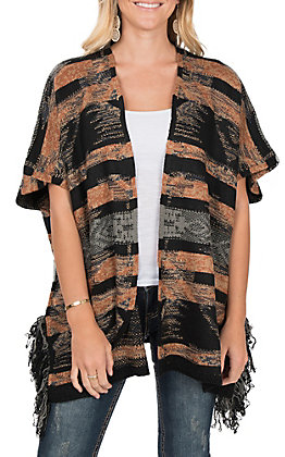 Ethyl Women's Black Rust Aztec Cardigan