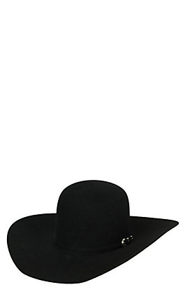 Rodeo King 7X Open Crown Black Felt Cowboy Hat 7XBLKOC45