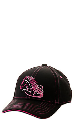 Cowgirl Hardware Toddlers' Black with Pink Beautiful Horse Embroidery Cap