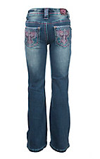 Cowgirl Hardware Girl's Medium Wash with Pink and Blue Cross Embroidery Open Pocket Boot Cut Jeans