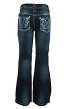 Cowgirl Hardware Girl's Dark Wash with Blue Butterfly Wing Embroidery Open Pocket Boot Cut Jeans