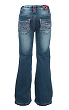 Cowgirl Hardware Girl's Medium Wash with Pink and Blue Aztec Embroidery Open Pocket Boot Cut Jeans
