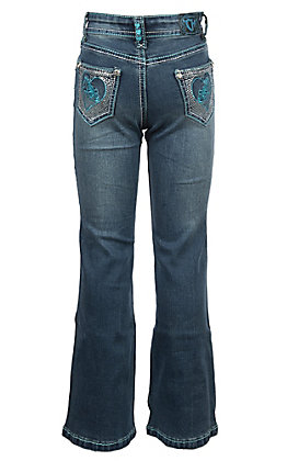 Cowgirl Hardware Toddler Heart Horse Open Pocket Boot Cut Jeans