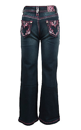 Cowgirl Hardware Toddler Girls Dark Wash Pink Vine Paisley Boot Cut Jeans