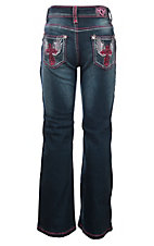 Cowgirl Hardware Girls Dark Wash Steel Cross Embroidered Jeans