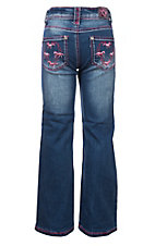 Cowgirl Hardware Girls Medium Wash Pink Embroidered Horse Wreath Jeans