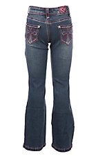 Cowgirl Hardware Girls Toddlers Medium Wash Pink Swirl Cross with Rhinestones Boot Cut Jeans