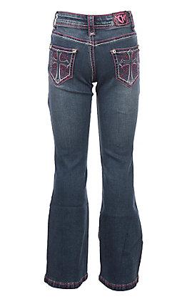 Cowgirl Hardware Girls Toddlers Medium Wash Pink Swirl Cross with Rhinestones Boot Cut Jeans