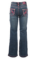 Cowgirl Hardware Girls Toddler Medium Wash Pink Beautiful Horse Boot Cut Jeans