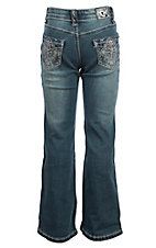 Cowgirl Hardware Girls Medium Wash Grace Cross Pocket Boot Cut Jeans