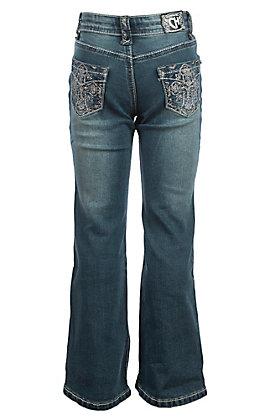 Cowgirl Hardware Girls' Medium Wash Grace Cross Pocket Boot Cut Jeans