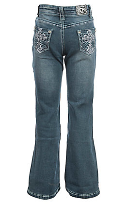 Cowgirl Hardware Girls Medium Wash Steel Cross Pocket Boot Cut Jeans