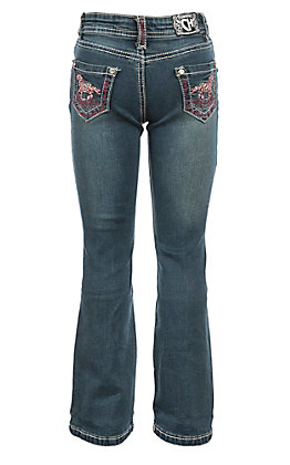Cowgirl Hardware Girls Medium Wash Tangle Horse Boot Cut Jeans
