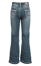 Cowgirl Hardware Girls Medium Wash Tonal Aztec with Steel Blue Embroidery Boot Cut Jeans