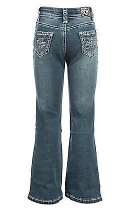 Cowgirl Hardware Girls' Medium Wash Tonal Aztec with Steel Blue Embroidery Boot Cut Jeans