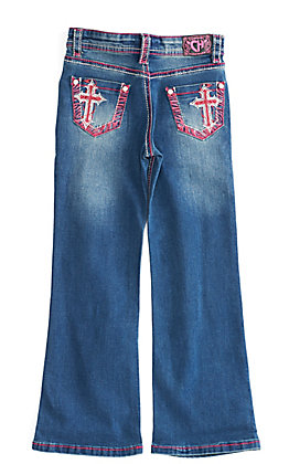 Cowgirl Hardware Toddler Girls' Pink Zebra Cross Embroidered Pocket Boot Cut Jeans