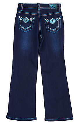 Cowgirl Hardware Toddler Girls' Turquoise Aztec Embroidered Pocket Boot Cut Jeans