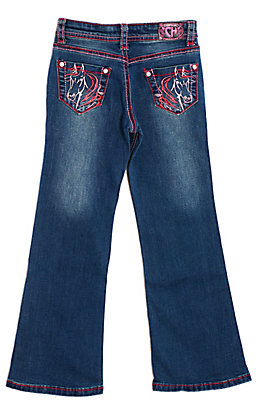 Cowgirl Hardware Girls' Pink Horse Embroidered Pocket Boot Cut Jeans