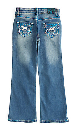 Cowgirl Hardware Toddler Girls' Turquoise & White Horse Wreath Embroidery Boot Cut Jeans