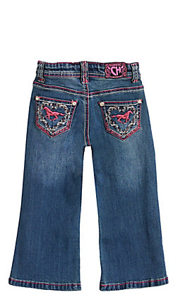 Cowgirl Hardware Toddlers' Medium Wash Pink Horse Wreath Embroidery Boot Cut Jeans