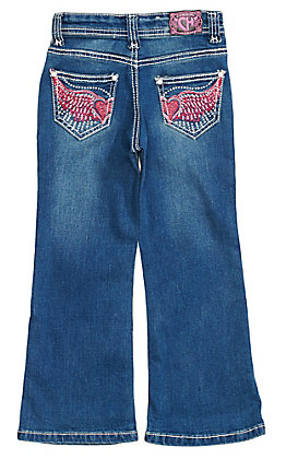 Cowgirl Hardware Toddler Girls' Medium Wash Pink Winged Heart Boot Cut Jeans