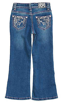 Cowgirl Hardware Toddler Girls' Medium Wash Horse Boot Cut Jeans