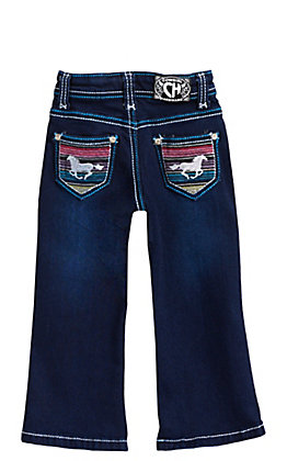 Cowgirl Hardware Toddlers' Dark Wash Serape Horse Embroidery Boot Cut Jeans