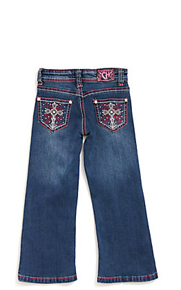 Cowgirl Hardware Toddler Medium Wash White Cross with Pink Swirl Embroidery Bootcut Jeans