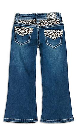 Cowgirl Hardware Toddler Girls' Dark Wash Leopard Print Yoke and Pockets Boot Cut Jeans