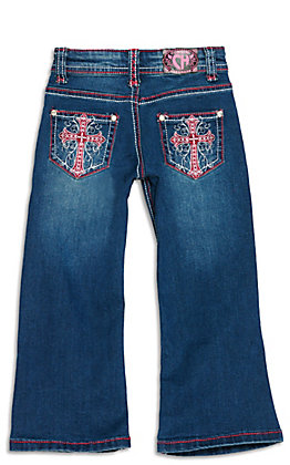 Cowgirl Hardware Toddler Girls' Dark Wash with Pink Cross Embroidery Boot Cut Jeans