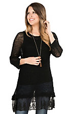 Ethyl Women's Black Lace Bottom Hem 3/4 Sleeve Tunic Knit Fashion Top
