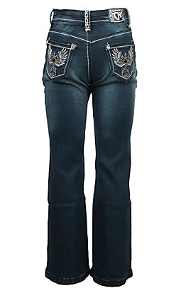 Cowgirl Hardware Toddlers Medium Wash Embroidered Cross with Rhinestones Boot Cut Jeans