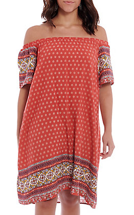 Hem & Thread Women's Red Printed Off The Shoulder Dress