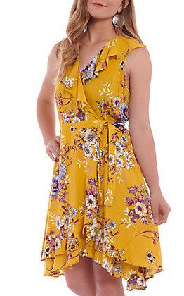Hem & Thread Women's Mustard Floral Wrap Dress