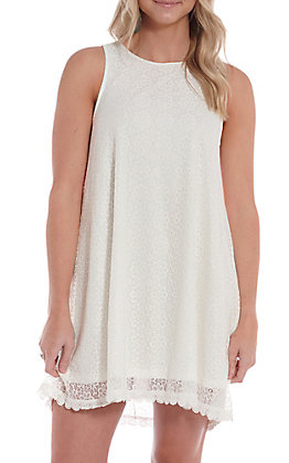 Hem & Thread Women's White Lace High Neck Tank Dress