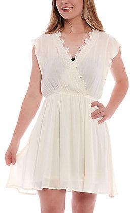 Hem & Thread Women's Ivory Lace Crochet V-Neck Dress