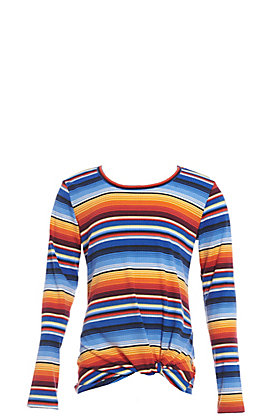 Jody Girls' Ink Blue Serape Front Knot Long Sleeves Top