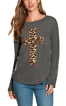Southern Grace Grey with Leopard Cross Long Sleeve Top