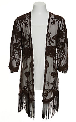Jody Girls' Chocolate Brown Floral Lace with Fringe Kimono