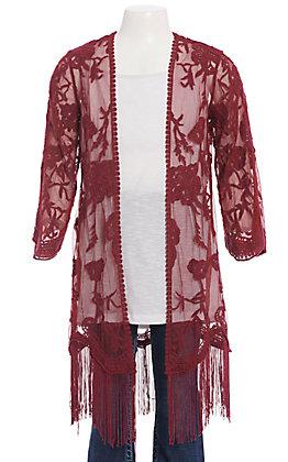 Jody Girls' Burgundy Floral Lace With Fringe Kimono