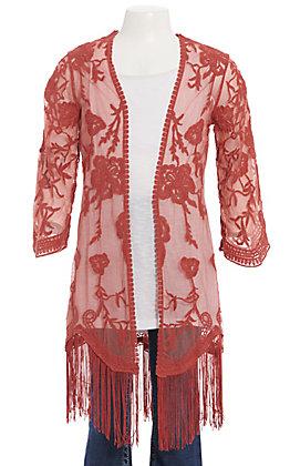 Jody Girls' Brick Floral Lace With Fringe Kimono