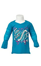 Cowgirl Hardware Toddler Girl's Blue with Too Cute Rhinestud Heart Long Sleeve Tee