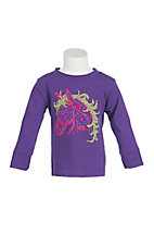 Cowgirl Hardware Girl's Purple with Multi Colored Studded Horse Head Long Sleeve Casual Knit Top