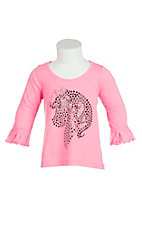 Cowgirl Hardware Girl's Pink with Black Studded Horse Head Long Sleeve Casual Knit Top