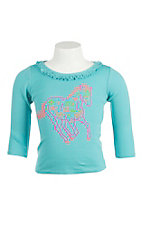 Cowgirl Hardware Girl's Turquoise with Neon Studded Horse Long Sleeve Casual Knit Shirt